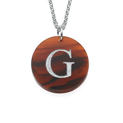 Acrylic Initial Disc Necklace - 1