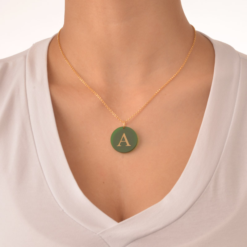 Acrylic Initial Disc Necklace - 2