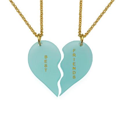 Acrylic Broken Heart Necklaces for couple