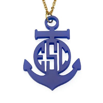 Acrylic Anchor Block Monogram Necklace - 1