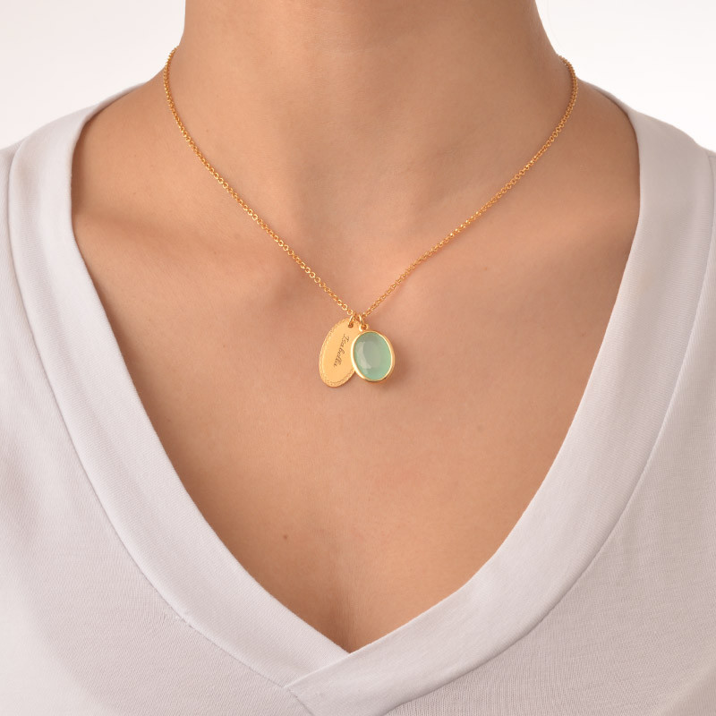 Glass Stone Pendant with Engraved Oval Disc Charm - 2