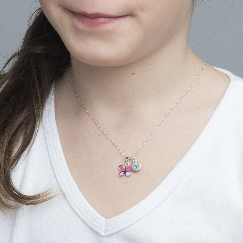 Pink Butterfly Necklace for Kids with Initial Charm - 2