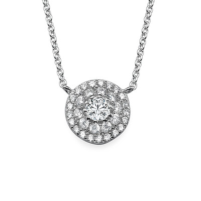 Round Disc Necklace with Cubic Zirconia