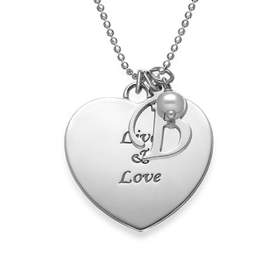 Personalised Heart Necklace with Hanging Pearl