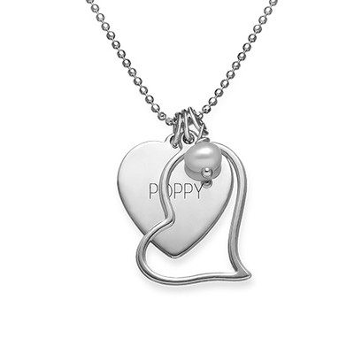 Engraved Heart Pendant with Hanging Pearl