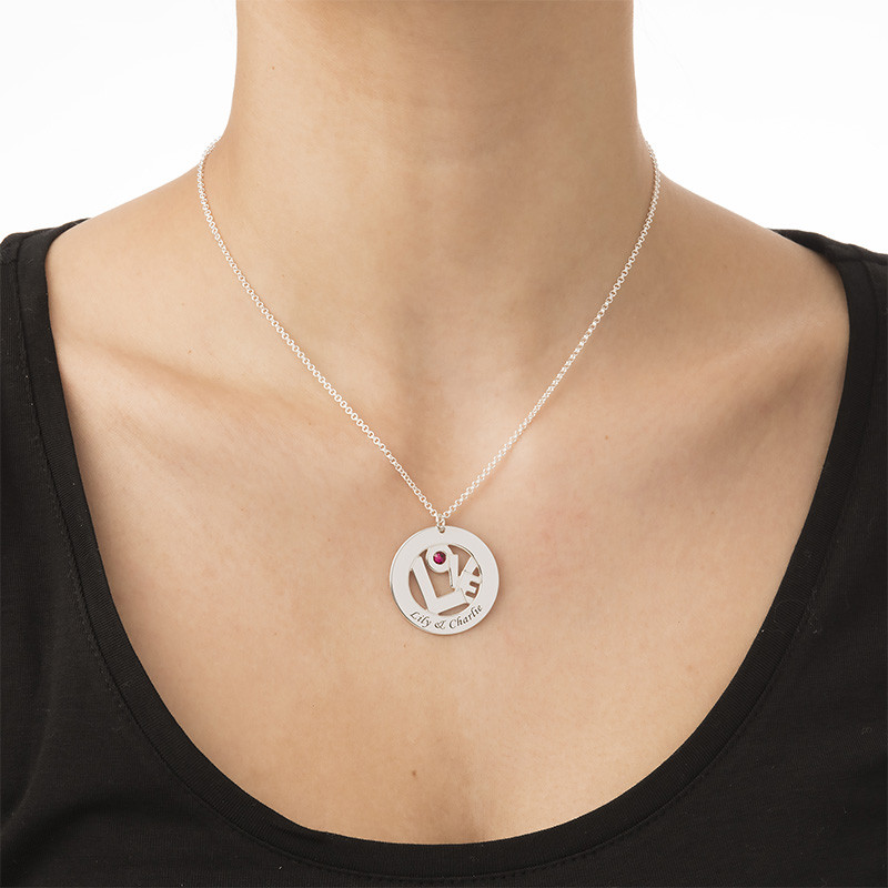 Circle Name Necklace with Birthstone - Yours Truly Collection - 2
