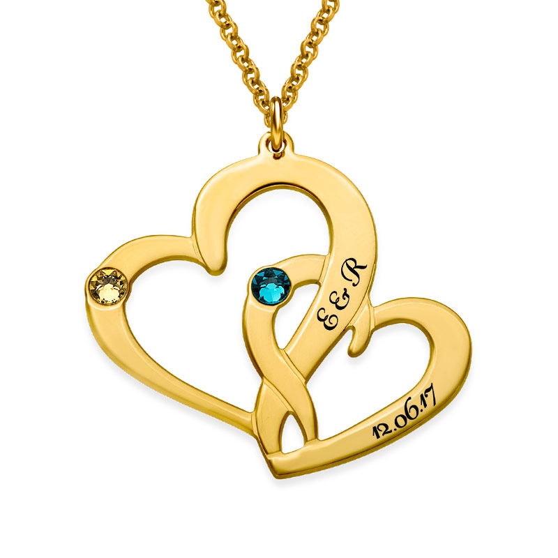 Engraved Two Heart Necklace with Gold Plating - 1