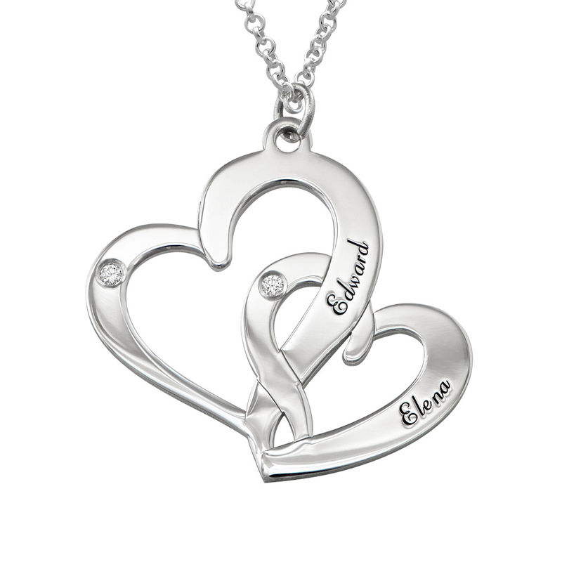 Engraved Two Heart Necklace Sterling Silver with Diamonds
