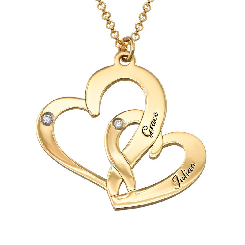 Engraved Two Heart Necklace Gold Plated  with Diamonds