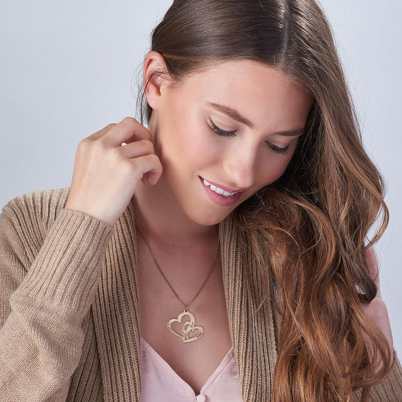 Engraved Two Heart Necklace Gold Plated  with Diamonds - 1