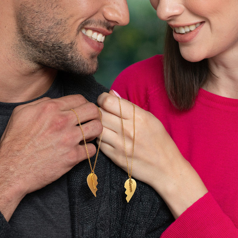 Engraved Couple Heart Necklace in Matte Gold Plating - 2