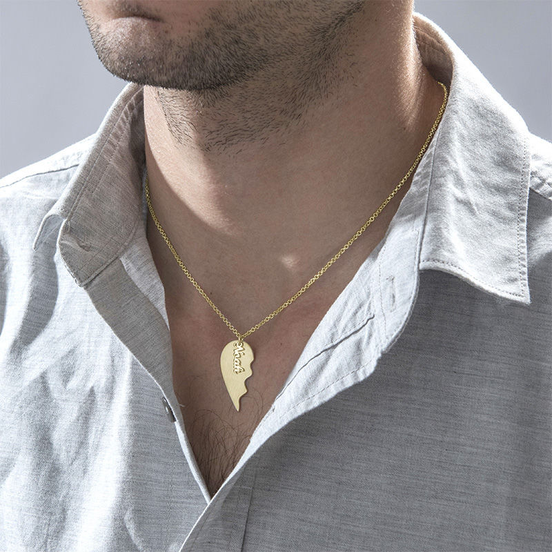 Engraved Couple Heart Necklace in Matte Gold Plating - 4
