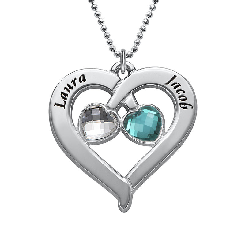 Personalised Heart Necklace with Birthstones