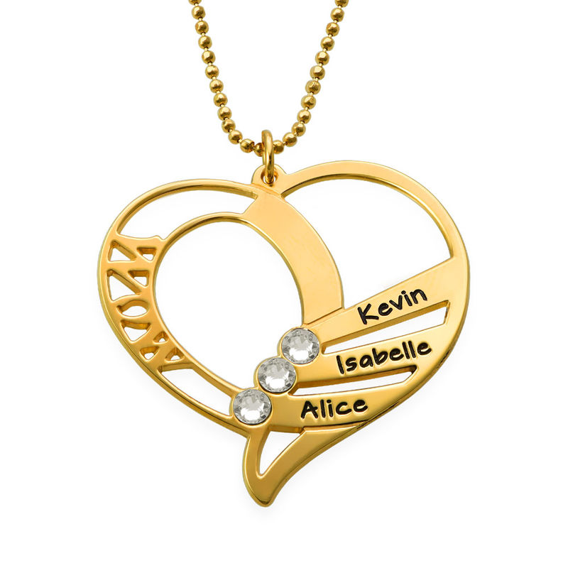 Engraved Mum Birthstone Necklace  - Gold Plated - 2