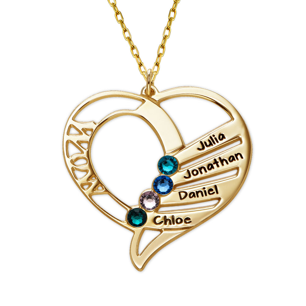 Engraved Mum Birthstone Necklace in 10ct Yellow Gold - 1