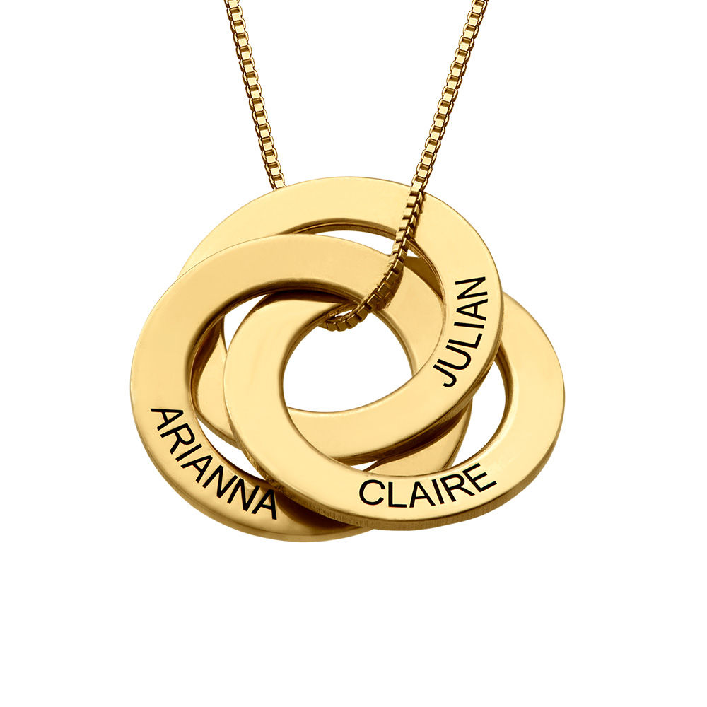 Russian Ring Necklace with Engraving - Gold Plated