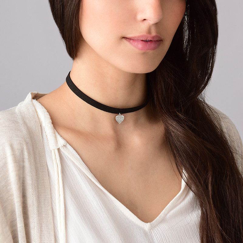 Black Choker Necklace with Heart Charm - 2