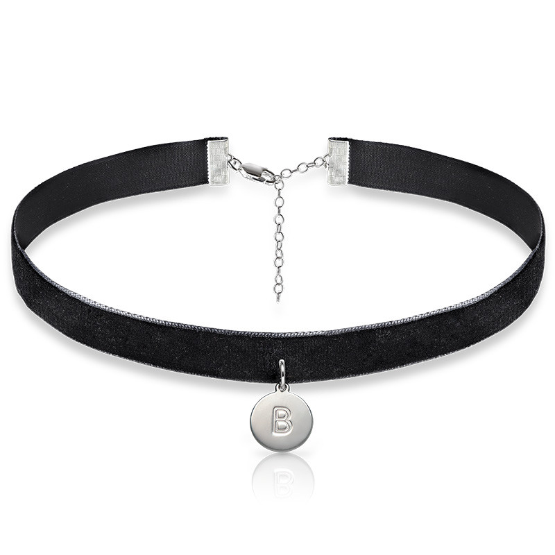 Velvet Choker Necklace with Initial Charm