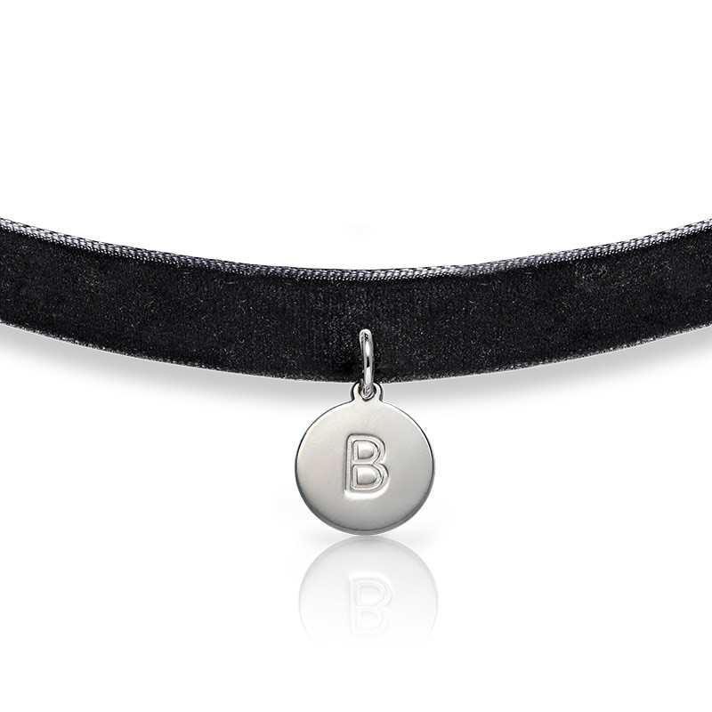 Velvet Choker Necklace with Initial Charm - 1
