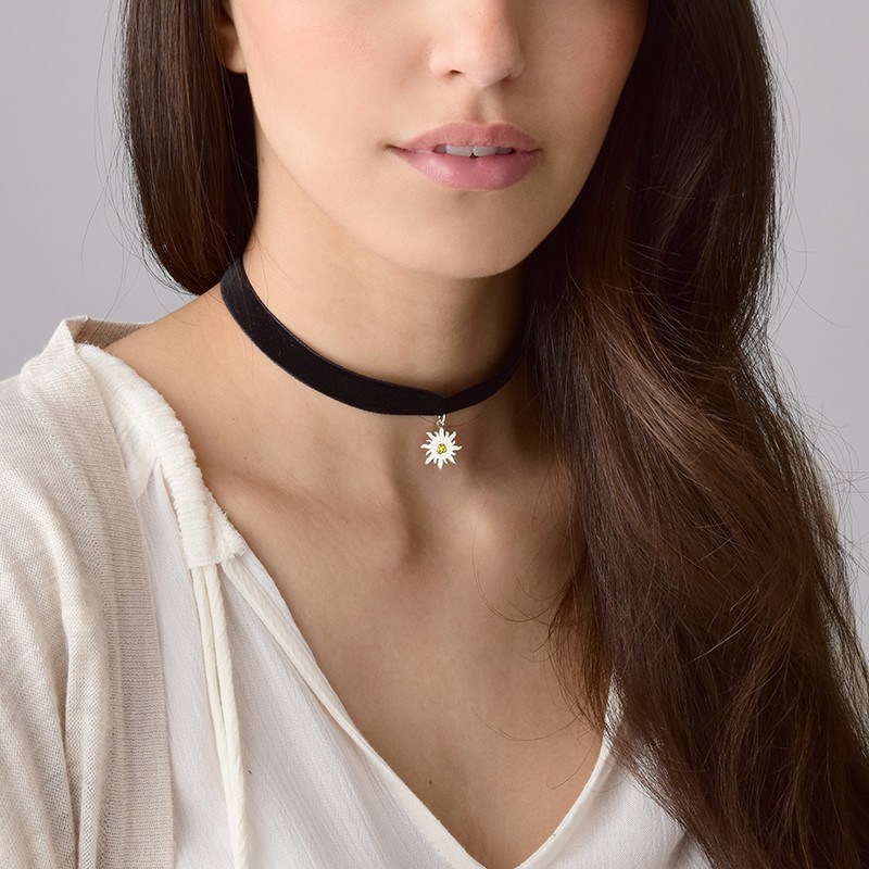 Black Choker Necklace with Birthstone Sun Charm - 3