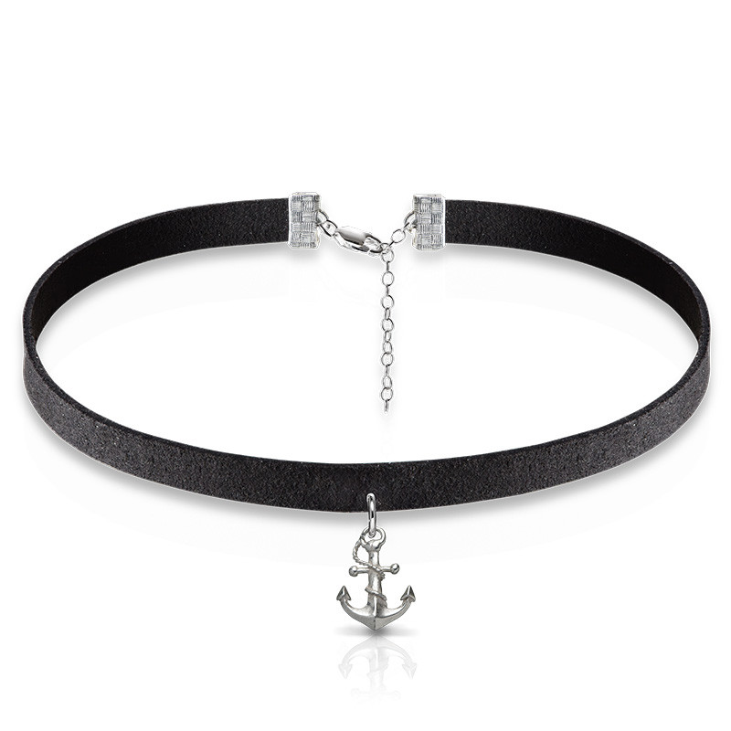Suede Choker with Anchor Charm