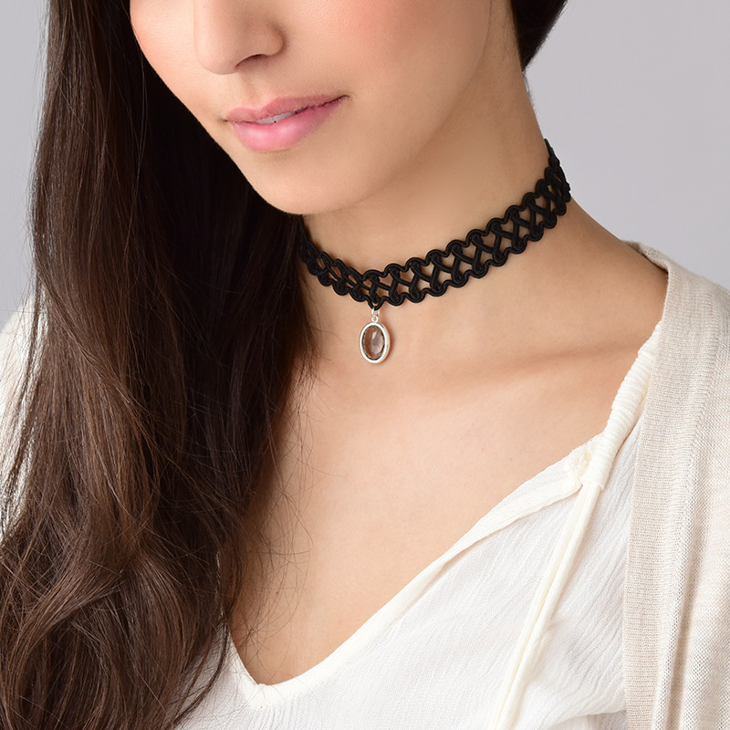 Tattoo Neck Choker with Personalised Stone - 3