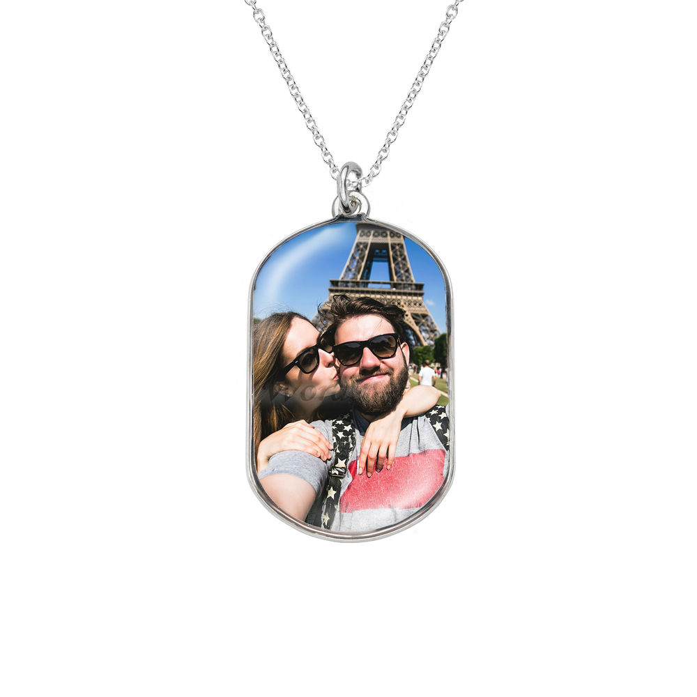 Dog tag photo necklace in Sterling Silver