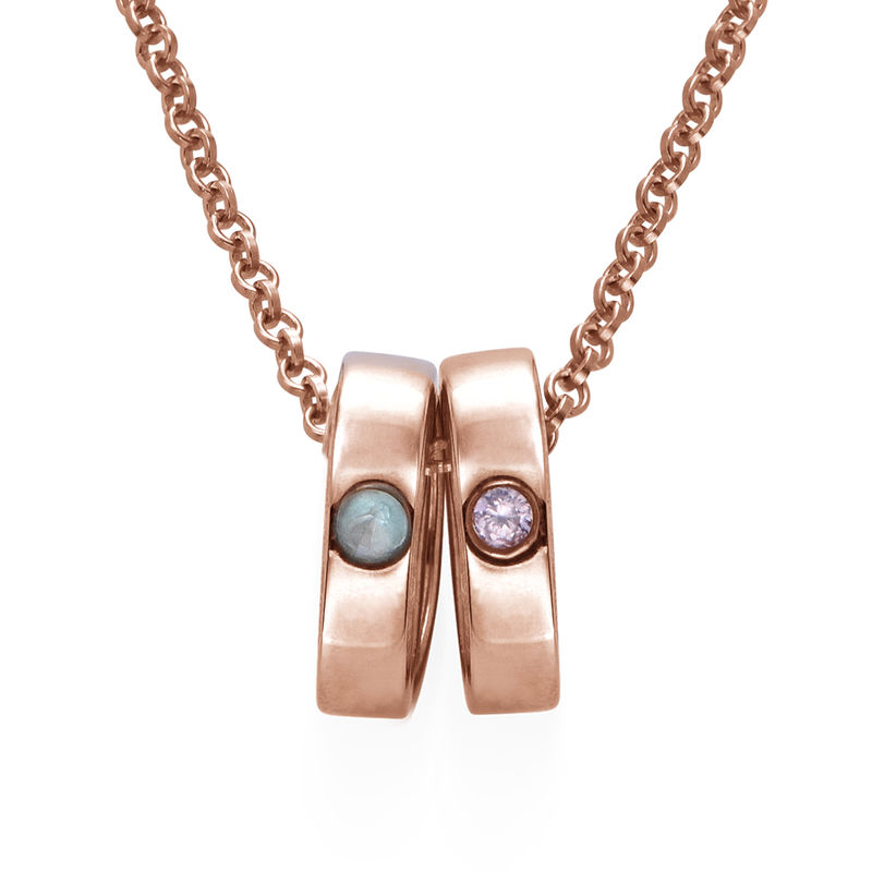 Rose Gold Plating Mother Ring Necklace with Engraving