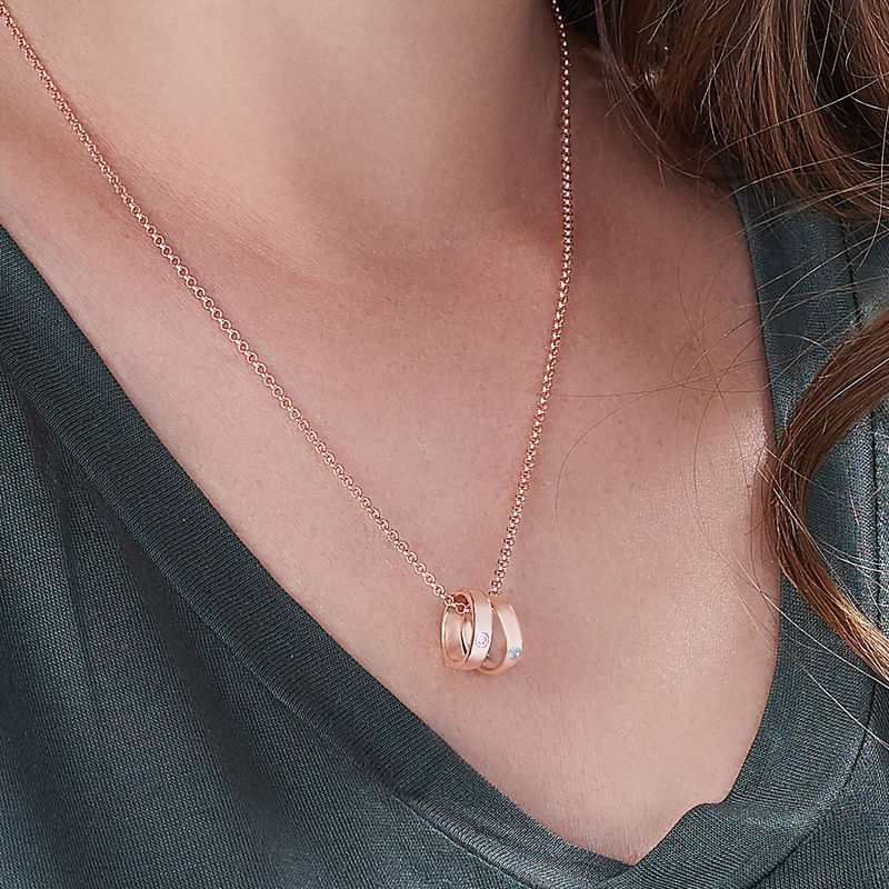 Rose Gold Plating Mother Ring Necklace with Engraving - 2