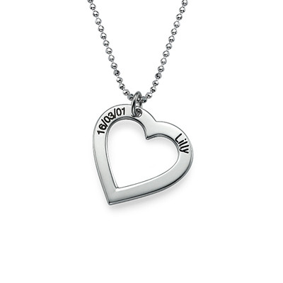 Silver Heart Necklace & Dog Tag Set - 1