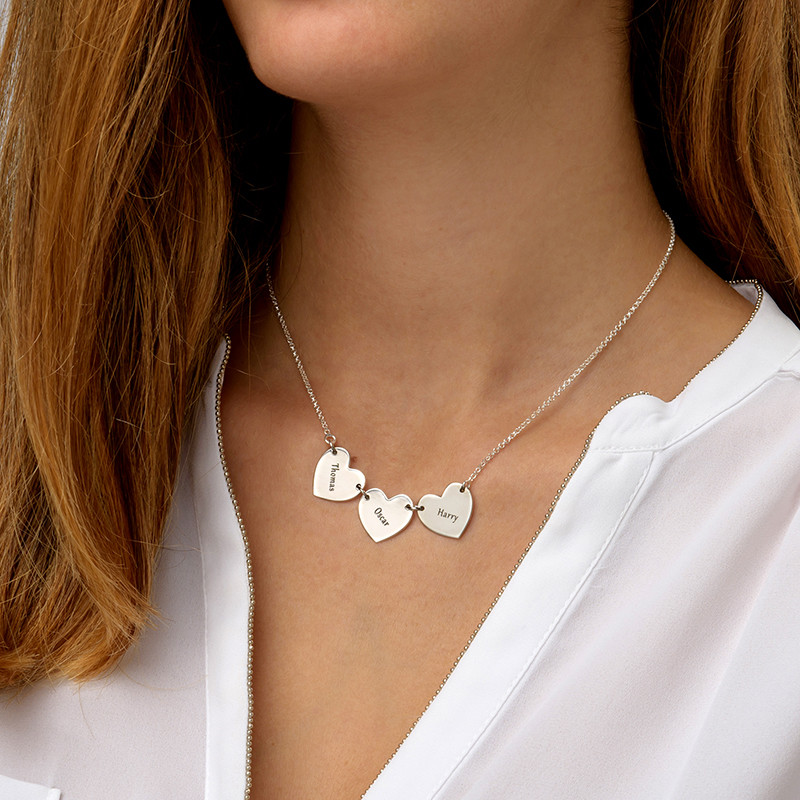 Mother Necklace with Kids Names - Heart Shaped - 2