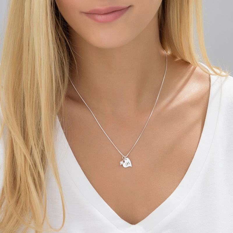 Heart Initial Necklace with pearl  in Silver - 3