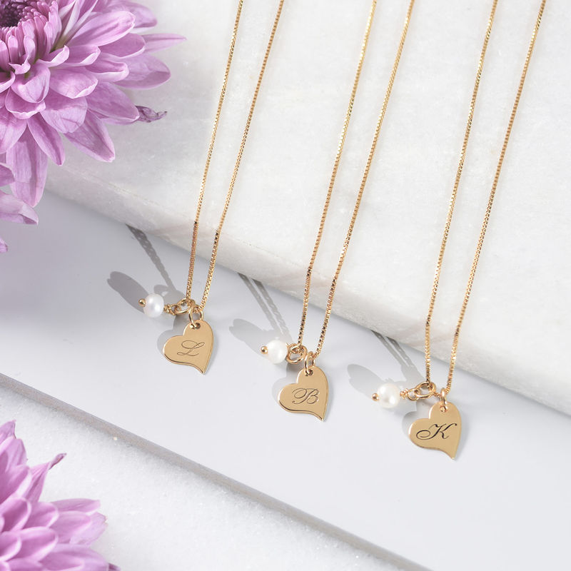 Heart Initial Necklace with pearl  in Gold Plating - 1