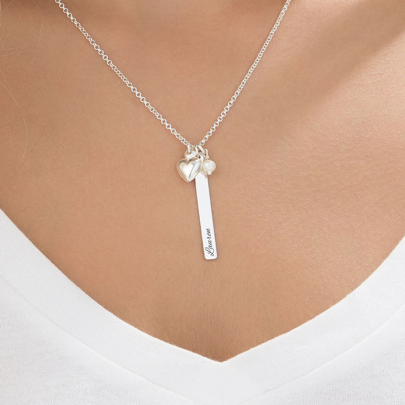Bar Necklace with heart charm and pearl in Silver - 3