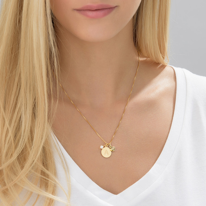 Initial Circle Necklace with pearl and rose charm in Gold Plating - 3