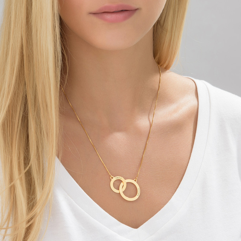 Engraved Eternity Circles Necklace in Gold Plating - 1
