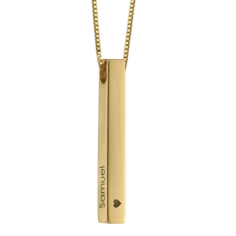 Engraved 3D Bar Necklace in Gold  Plating - 2