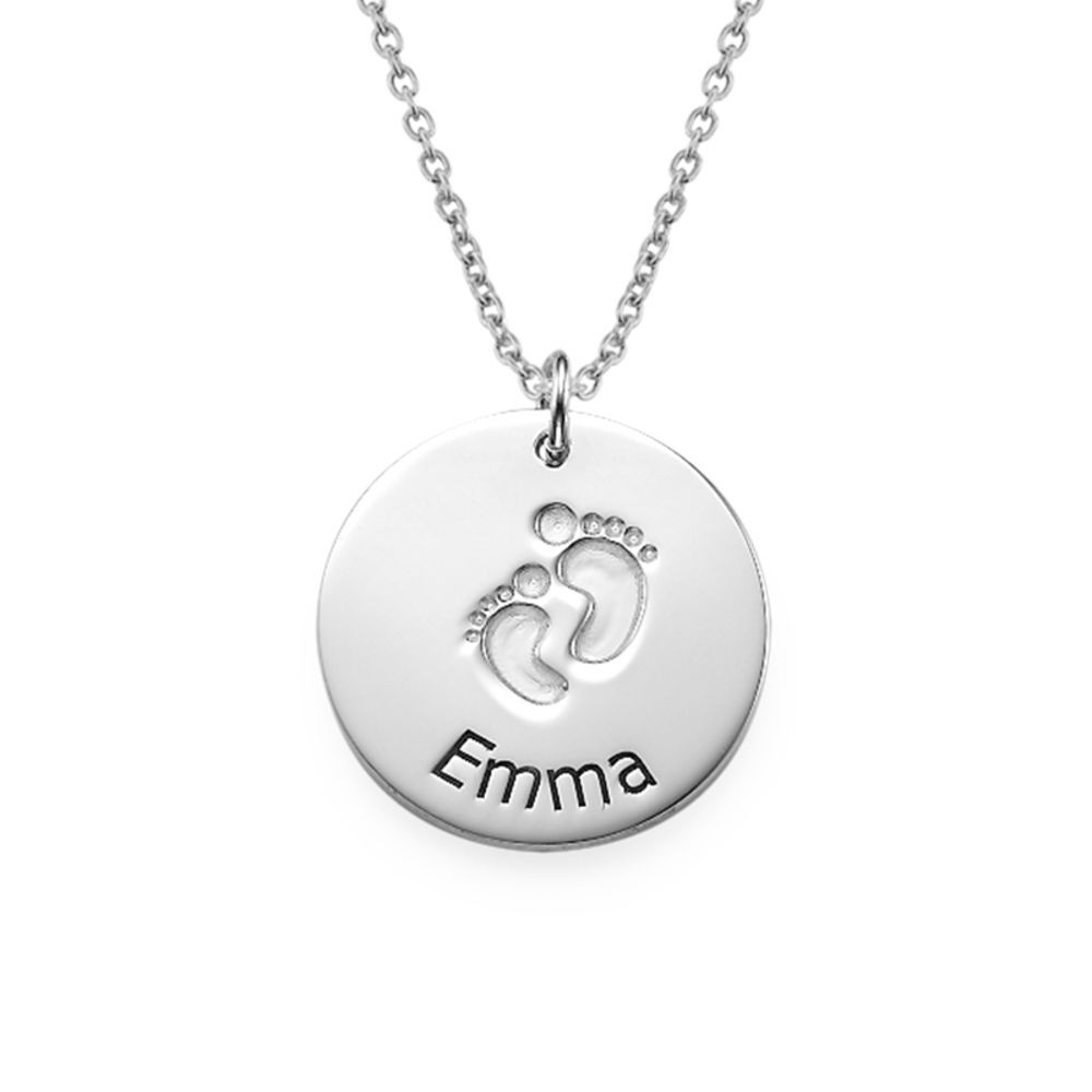Engraved Silver Baby Steps Necklace
