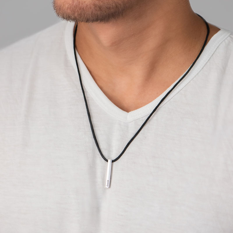 3D Engraved Bar Name Necklace for Men in Silver  - 2