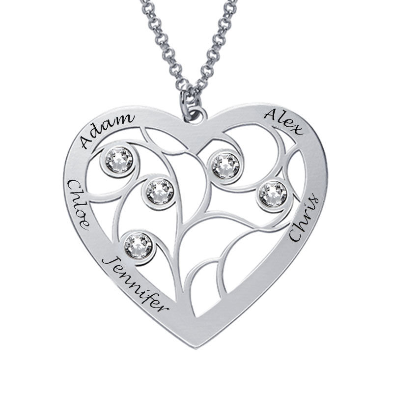 Heart Family Tree Necklace with birthstones in Sterling Silver - 1