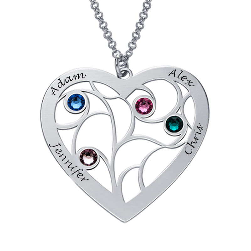 Heart Family Tree Necklace with birthstones in Sterling Silver - 2