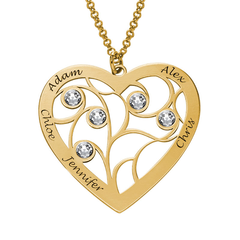 Heart Family Tree Necklace with birthstones in Gold Plating - 1