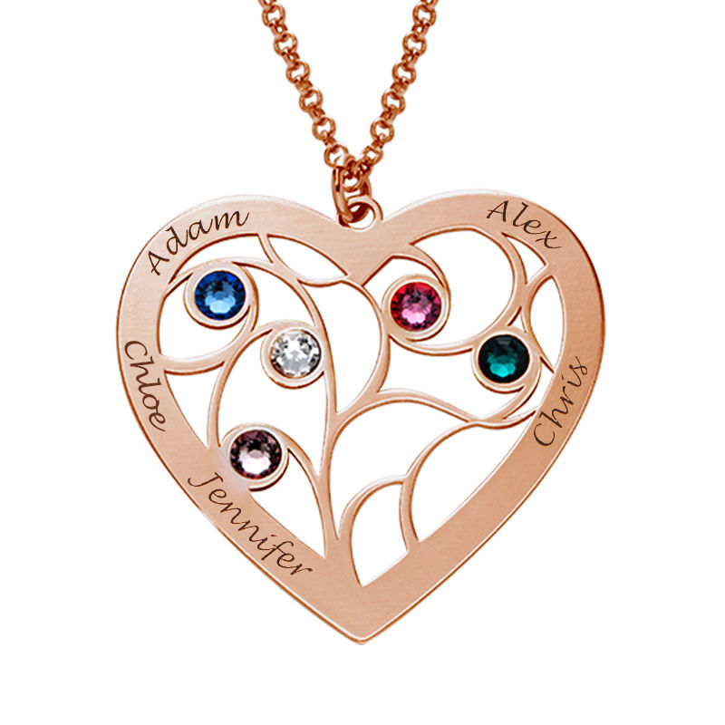 Heart Family Tree Necklace with birthstones in Rose Gold Plating - 2