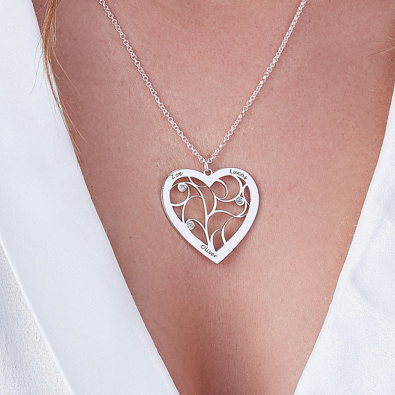 Heart Family Tree Necklace with Diamonds in Silver Sterling  - 2