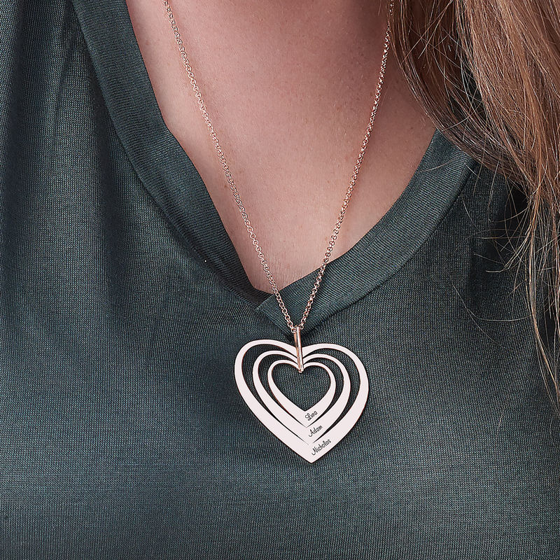 Family Hearts necklace in Rose Gold Plating - 3