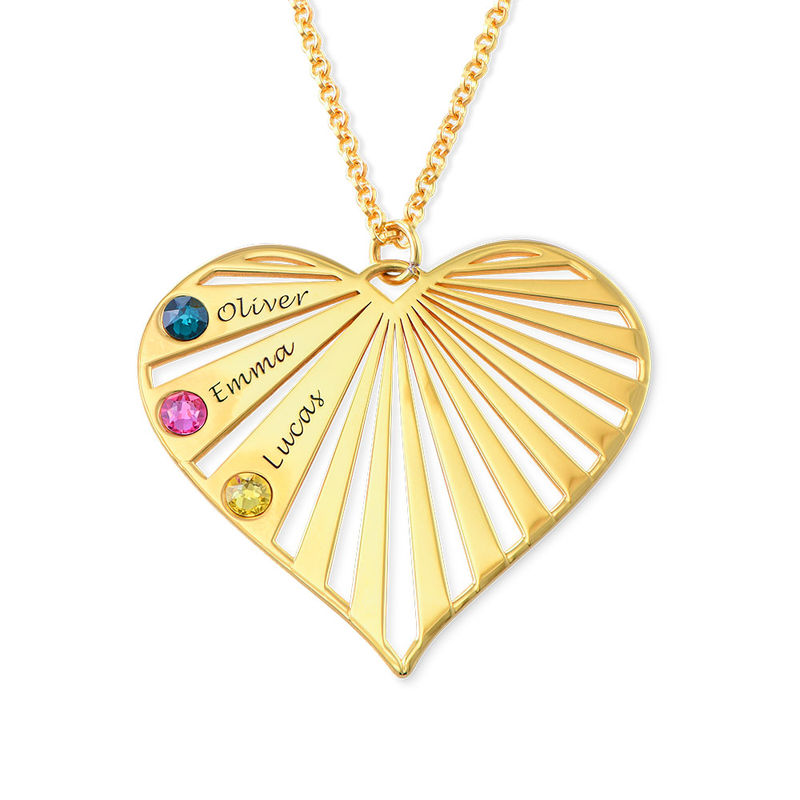Family Necklace with birthstones in Gold Plating - 3