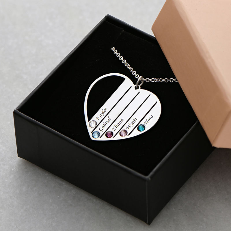 Mum Birthstone Necklace in Silver Sterling - 6