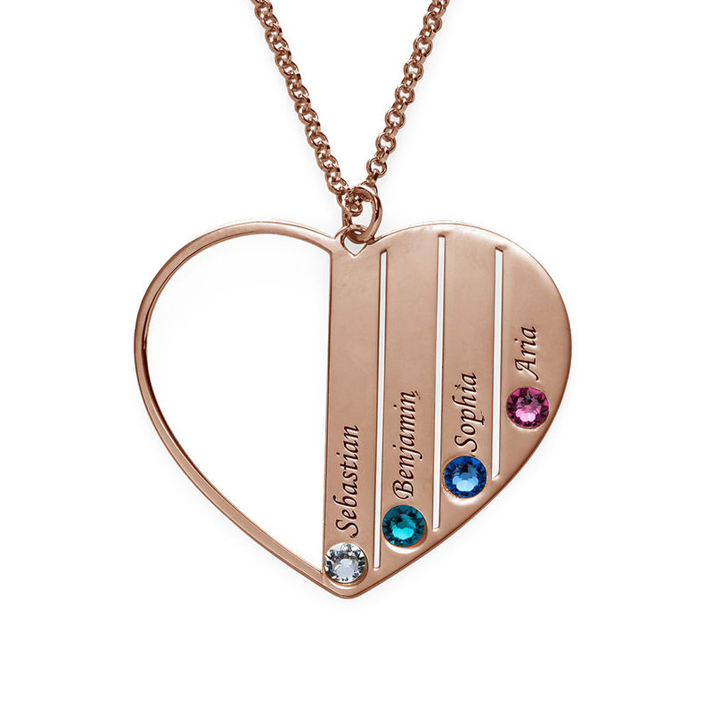 Mum Birthstone Necklace in Rose Gold Plating - 1