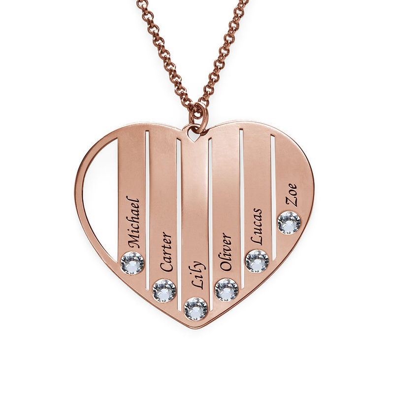 Mum Birthstone Necklace in Rose Gold Plating - 2