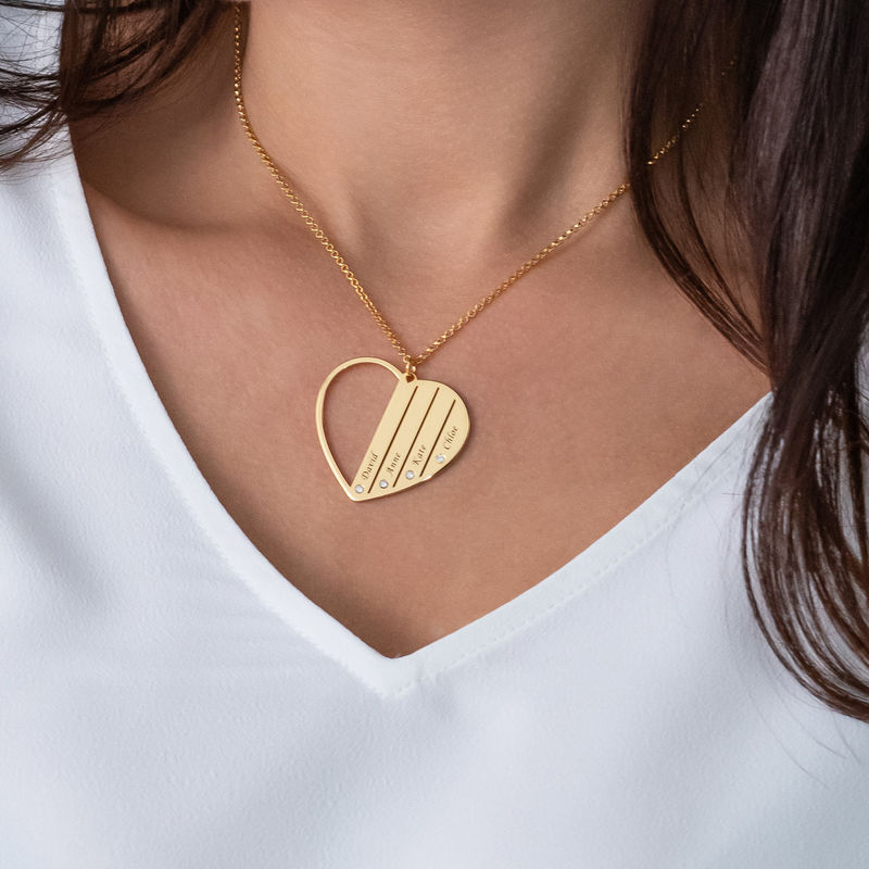 Mum Necklace in Gold Plating with Diamonds - 3